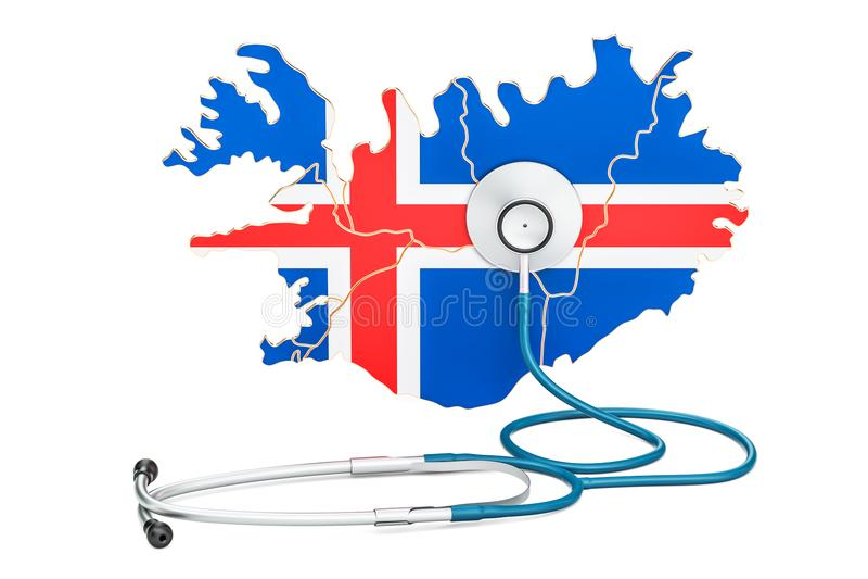 Mapa islandés con el estetoscopio, atención sanitaria nacional stock de ilustración