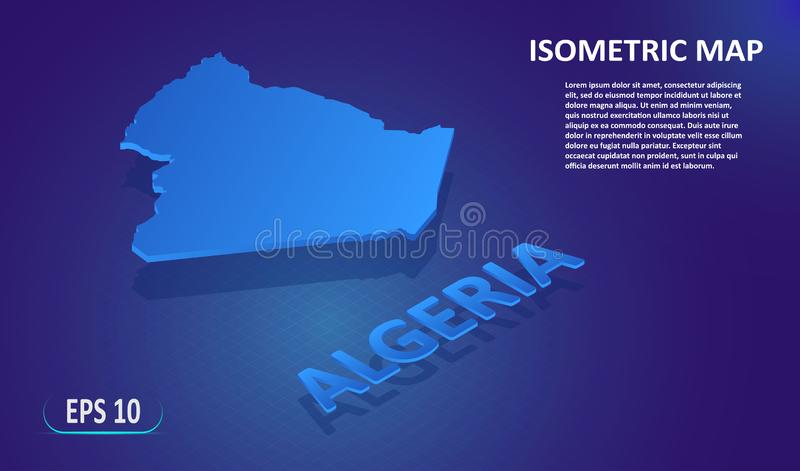 Mapa isométrico da Argélia Mapa liso estilizado do pa?s no fundo azul Mapa de lugar 3d isom?trico moderno com ilustração stock