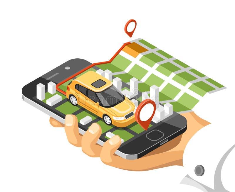 Mapa isométrico da cidade com carro e construções no telefone esperto O mapa no móbil navega a aplicação ilustração stock