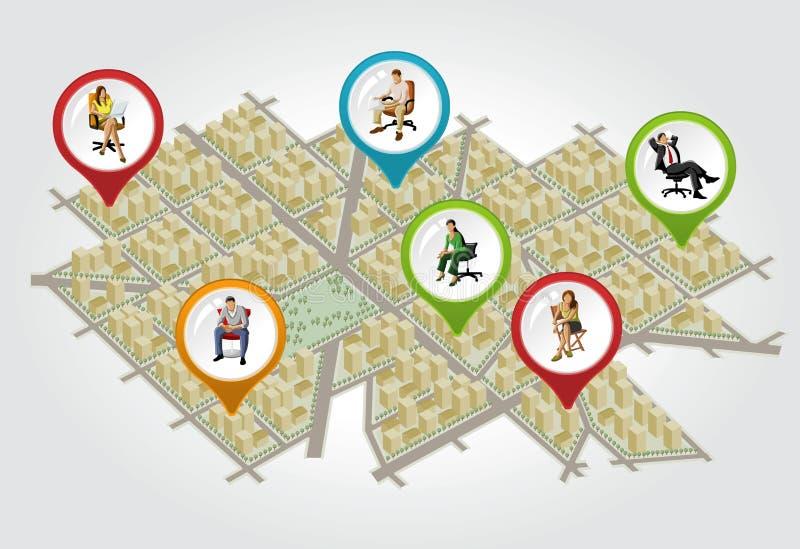 Mapa isométrico da cidade com povos ilustração stock