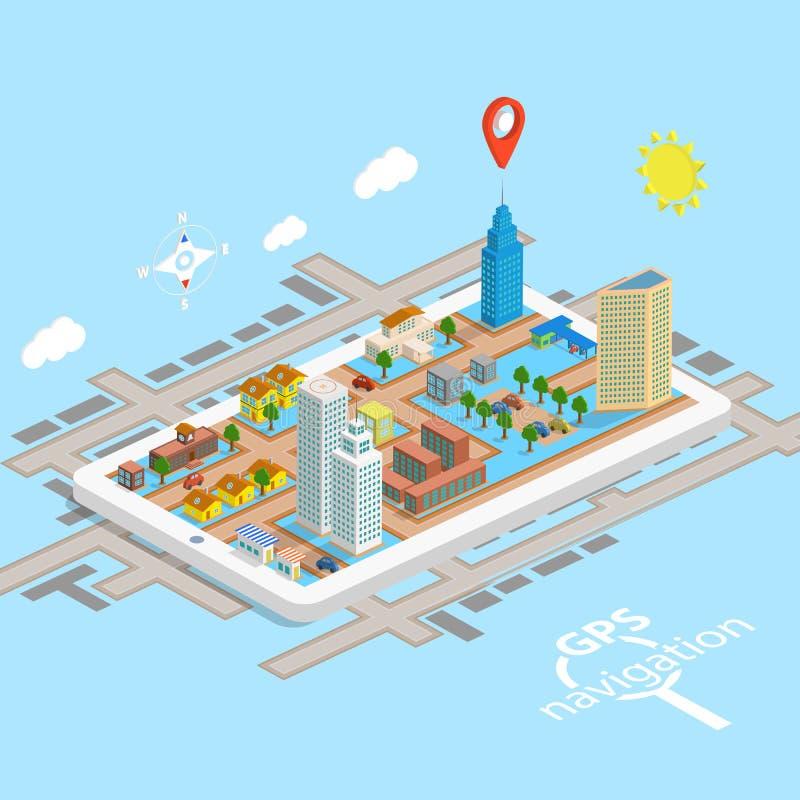 Mapa isométrico da navegação móvel de GPS ilustração stock