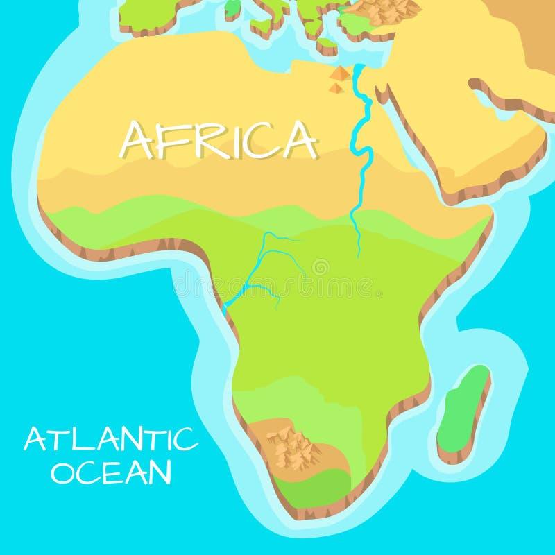 Mapa isométrico de África con las atracciones naturales libre illustration