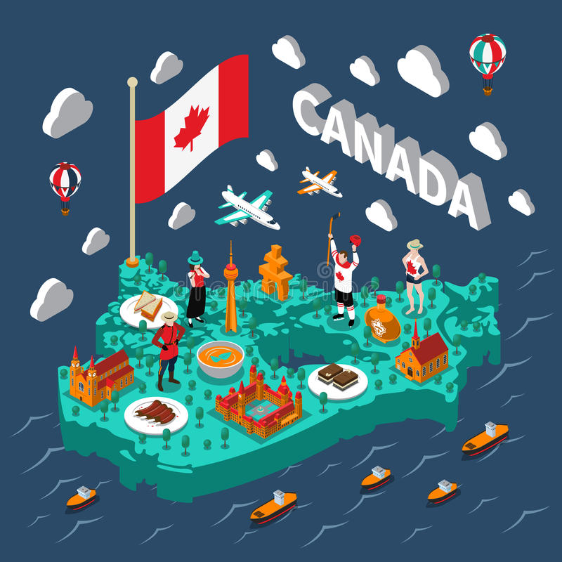 Mapa isométrico de Canadá ilustración del vector