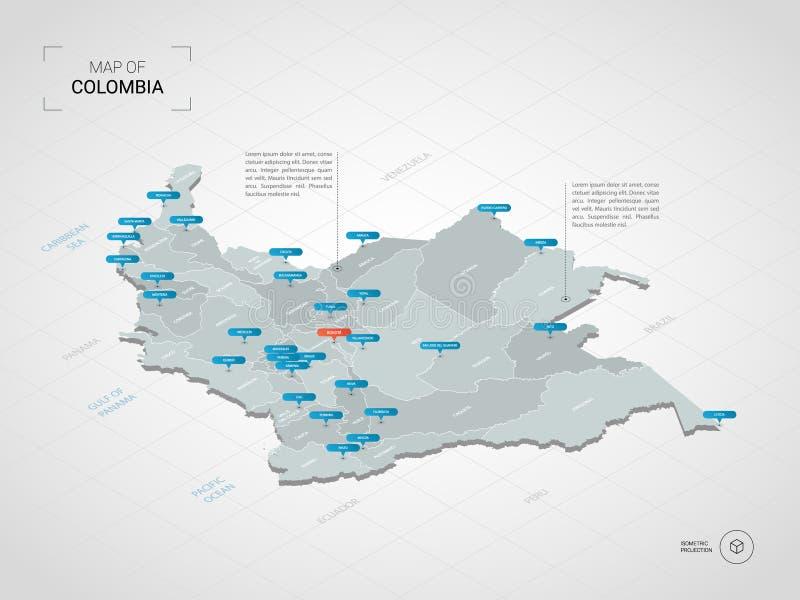 Mapa isométrico de Colômbia com nomes da cidade e o divisi administrativo ilustração royalty free
