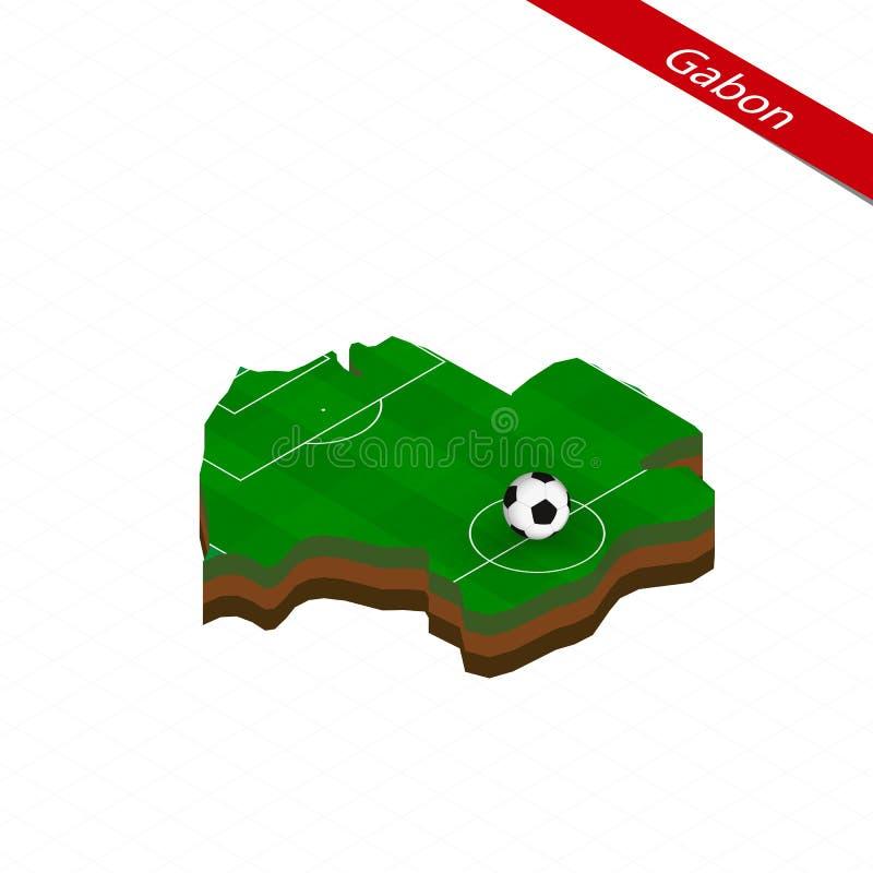 Mapa isométrico de Gabón con el campo de fútbol Bola del fútbol en el centro del campo de fútbol libre illustration