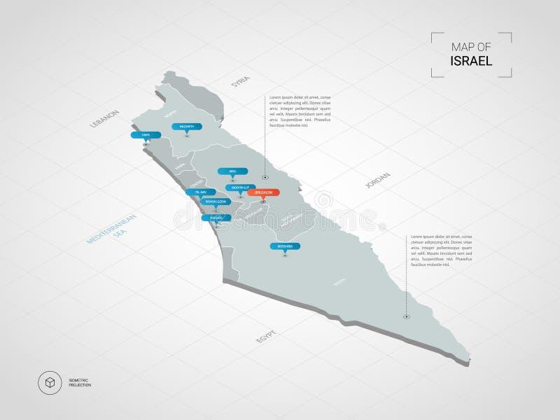 Mapa isométrico de Israel com nomes da cidade e divisão administrativa ilustração royalty free