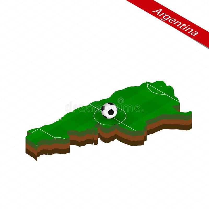 Mapa isométrico de la Argentina con el campo de fútbol Bola del fútbol en el centro del campo de fútbol libre illustration