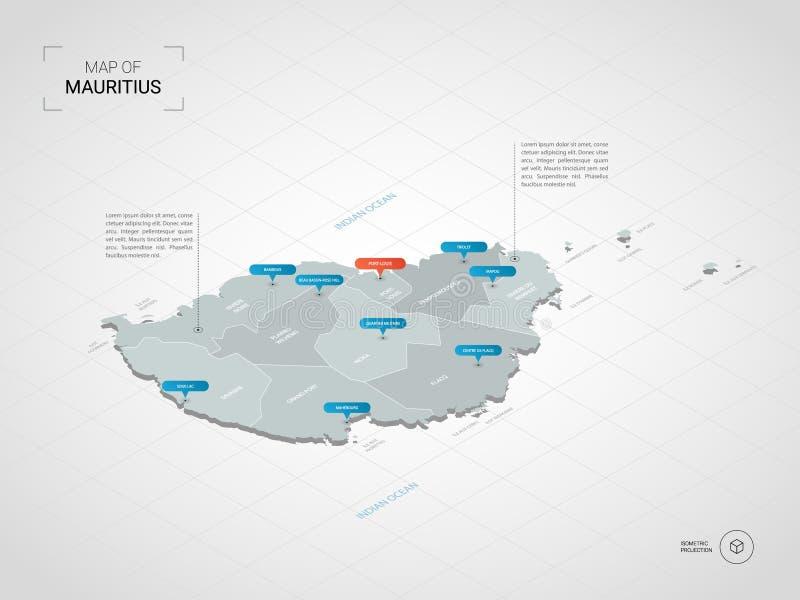 Mapa isométrico de Maurícias com nomes da cidade e os divis administrativos ilustração stock