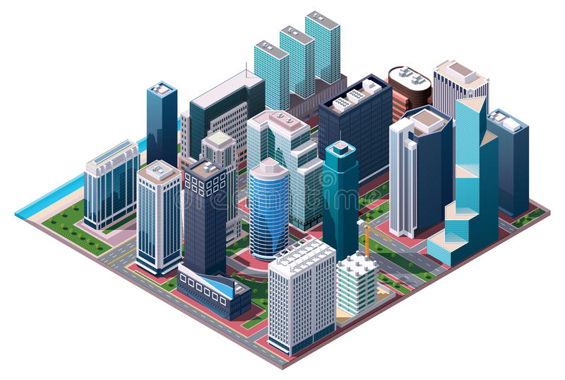 Mapa isométrico do centro da cidade do vetor ilustração do vetor