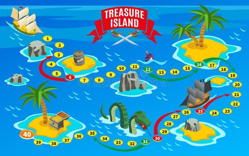 Mapa isométrico do jogo de mesa dos piratas ilustração do vetor