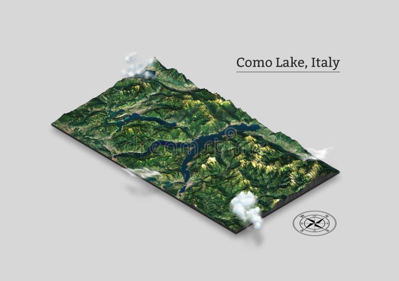 Mapa isométrico do lago Como, Itália ilustração do vetor