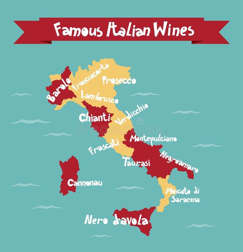 Mapa italiano famoso del vector de los vinos imágenes de archivo libres de regalías