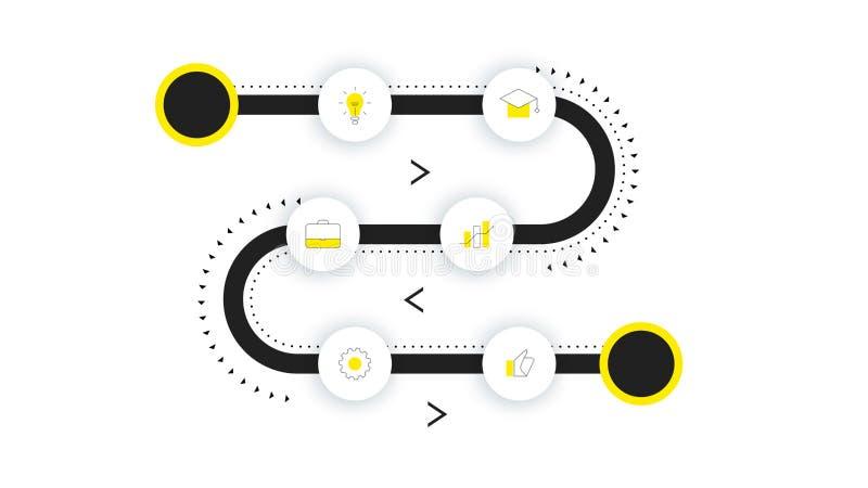 Mapa itinerario del vector, cronología moderna de Infographic con el contraluz de neón Plantilla para la presentación del negocio ilustración del vector