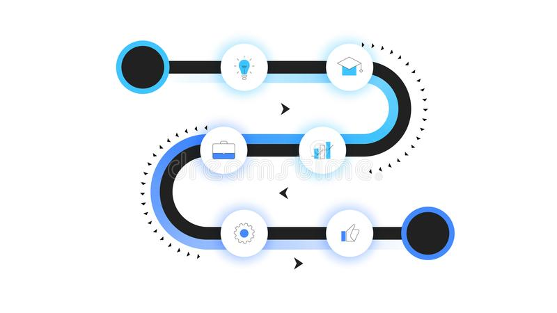 Mapa itinerario del vector, cronología moderna de Infographic con el contraluz de neón Plantilla para la presentación del negocio libre illustration