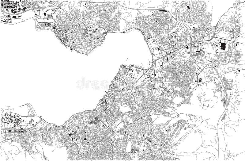 Mapa Izmir, Smirne, satelitarny widok, miasto, Turcja ilustracja wektor