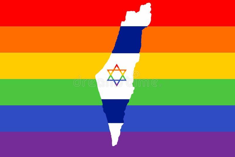 Mapa Izrael, przeciw tłu flaga duma LGBT ludzie z barwiącą gwiazdą dawidowa ilustracji