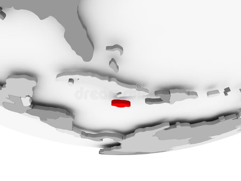 Mapa Jamajka na popielatej politycznej kuli ziemskiej royalty ilustracja