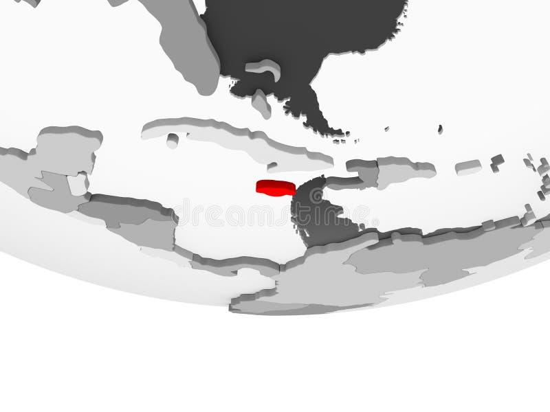 Mapa Jamajka na popielatej politycznej kuli ziemskiej ilustracja wektor