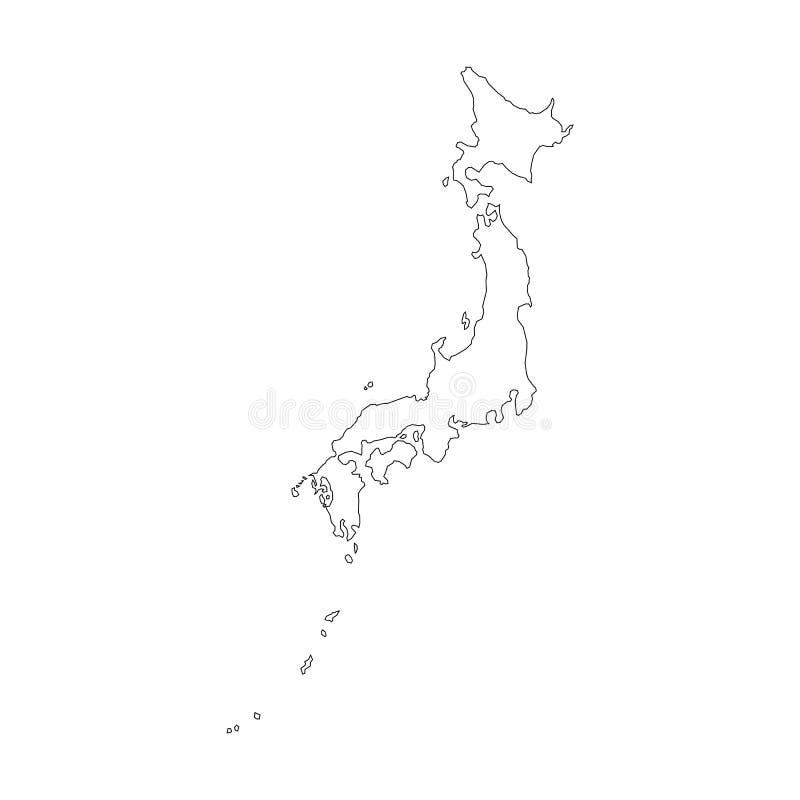 Mapa Japão do vetor Ilustração preto e branco do vetor Ilustração isolada do vetor Preto no fundo branco ilustração do vetor