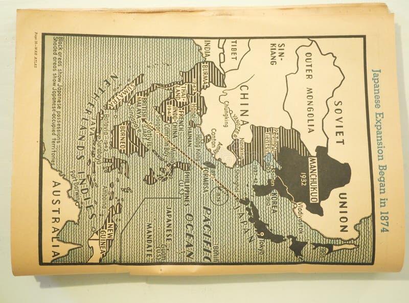 Mapa Japoński ekspansja początek w 1873 zdjęcie royalty free