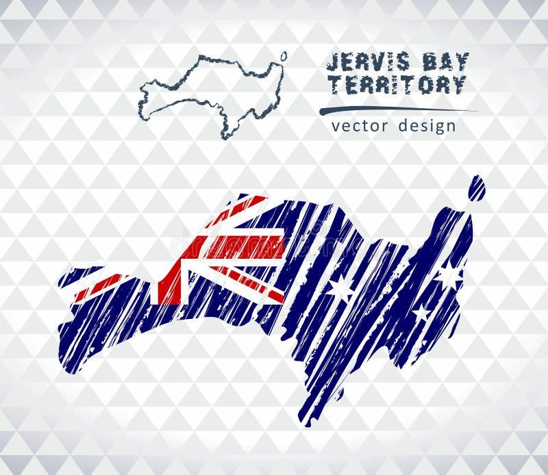 Mapa Jervis zatoki terytorium z ręka rysującą nakreślenia pióra mapą inside również zwrócić corel ilustracji wektora ilustracja wektor