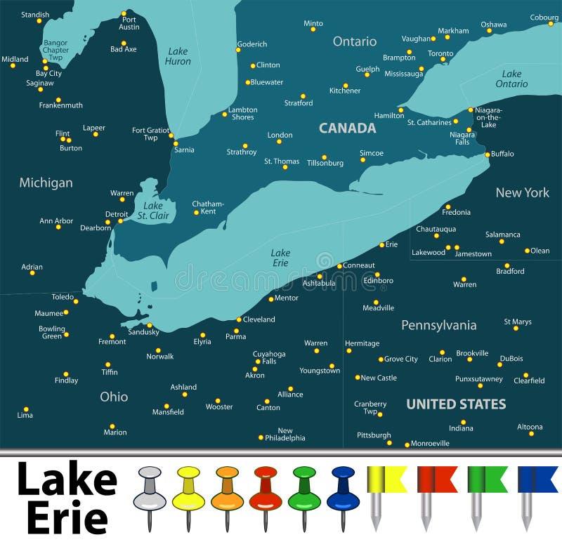 Mapa Jeziorny Erie royalty ilustracja