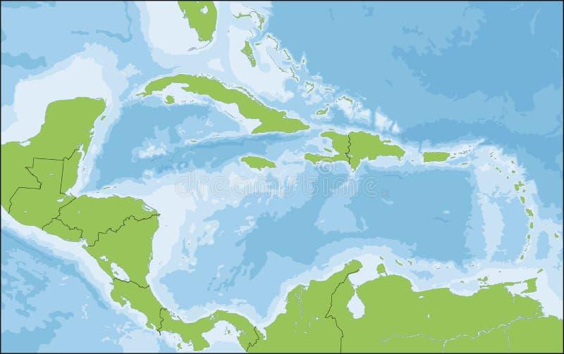 Mapa Karaiby ilustracja wektor