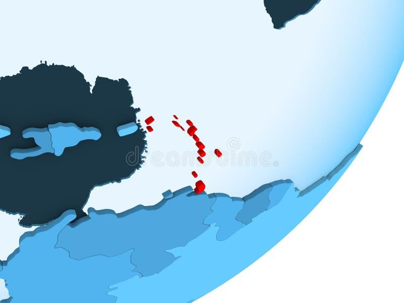 Mapa Karaiby na błękitnej politycznej kuli ziemskiej ilustracja wektor