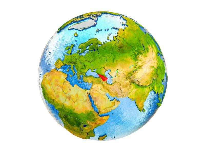 Mapa Kaukaz region na 3D ziemi odizolowywającej obrazy stock