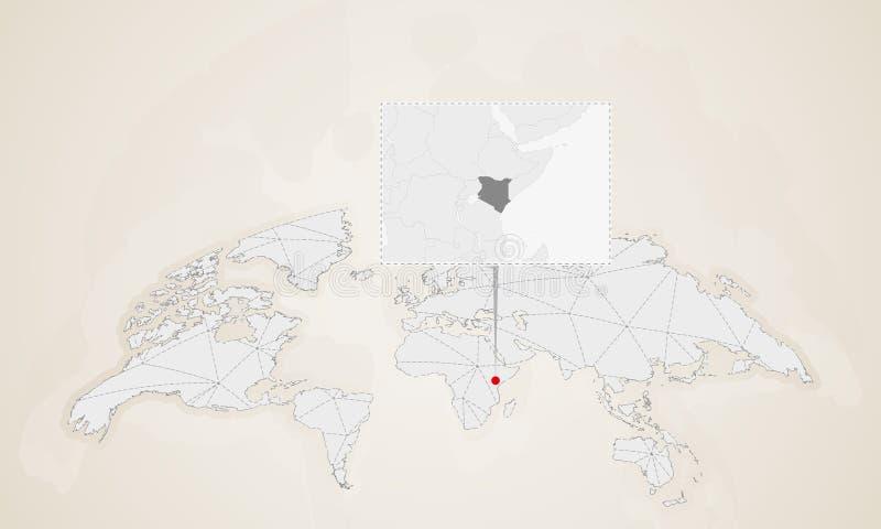 Mapa Kenja z sąsiednimi krajami przyczepiającymi na światowej mapie ilustracja wektor