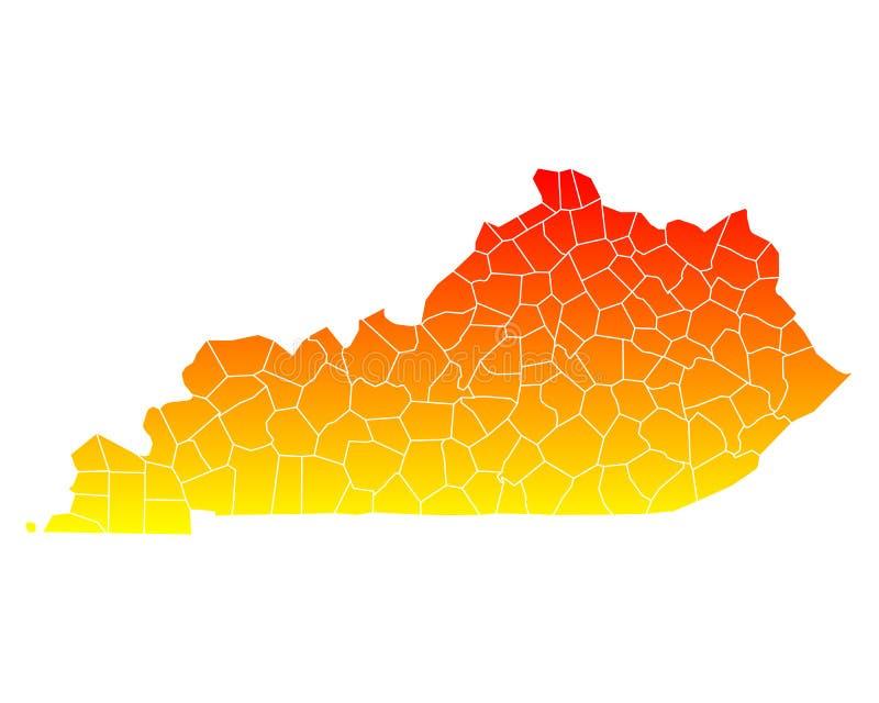 Mapa Kentucky ilustracji