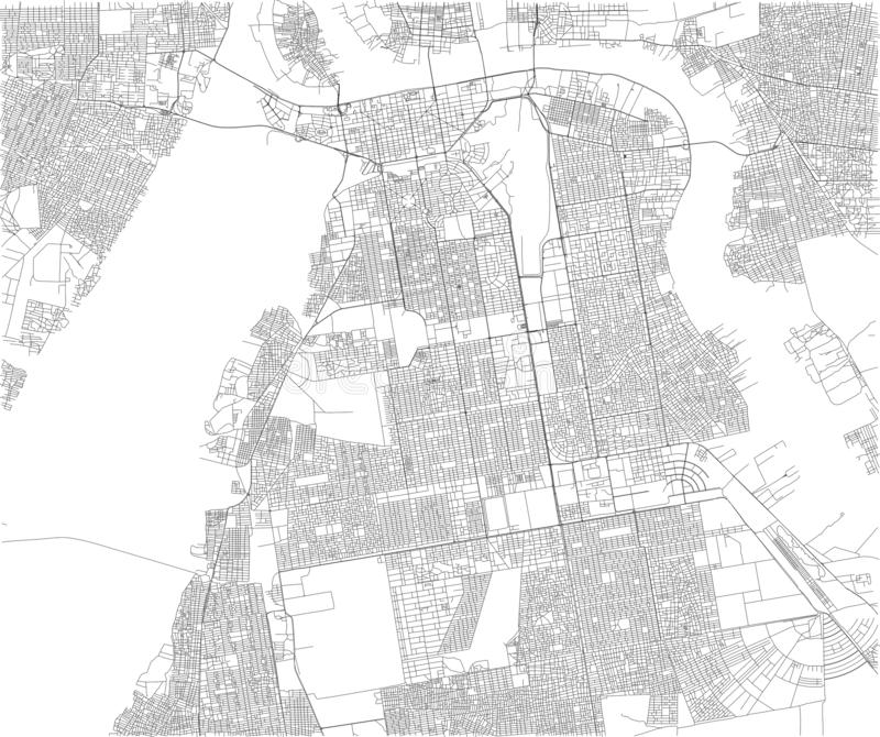 Mapa Khartoum, satelitarny widok, miasto, Sudan royalty ilustracja