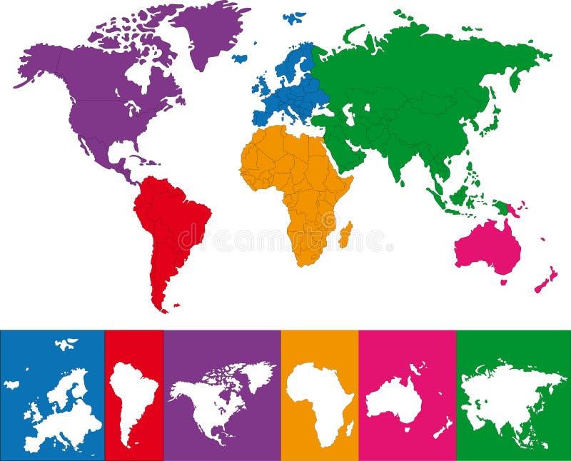 mapa kolorowy świat royalty ilustracja