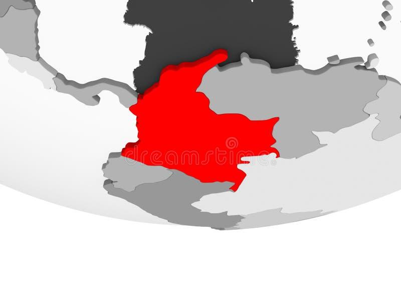 Mapa Kolumbia na popielatej politycznej kuli ziemskiej royalty ilustracja