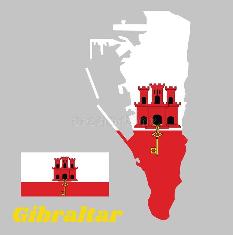 Mapa kontur i flaga Gibraltar Biel z czerwonym lampasem z trzy górującym, Each wierza drzwi, klucz i okno i ilustracji