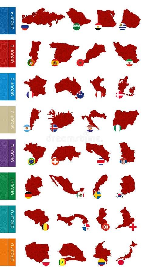 Mapa kontur z abstrakta wzorem i flagi układaliśmy grupami ilustracji