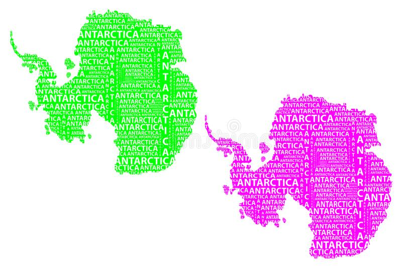 Mapa kontynent Antarctica - wektorowa ilustracja ilustracja wektor