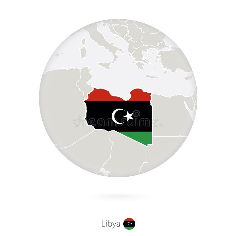 Mapa Libia i flaga państowowa w okręgu ilustracji