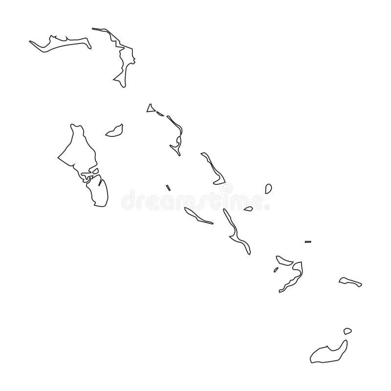 Mapa linear do Bahamas em um fundo branco Ilustração do vetor ilustração royalty free