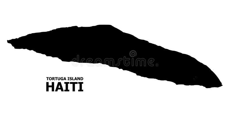 Mapa liso do vetor da ilha de Haiti Tortuga com nome ilustração stock