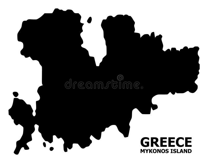 Mapa liso do vetor da ilha de Mykonos com subtítulo ilustração do vetor