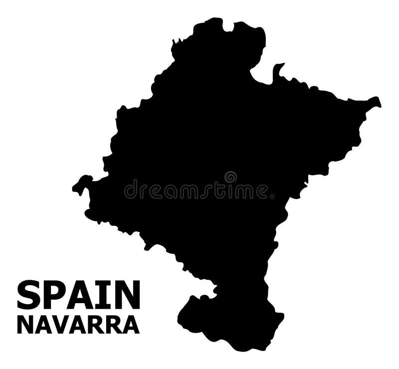 Mapa liso do vetor da província de Navarra com nome ilustração royalty free
