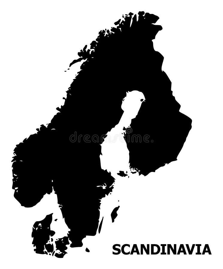 Mapa liso do vetor de Escandinávia com nome ilustração do vetor