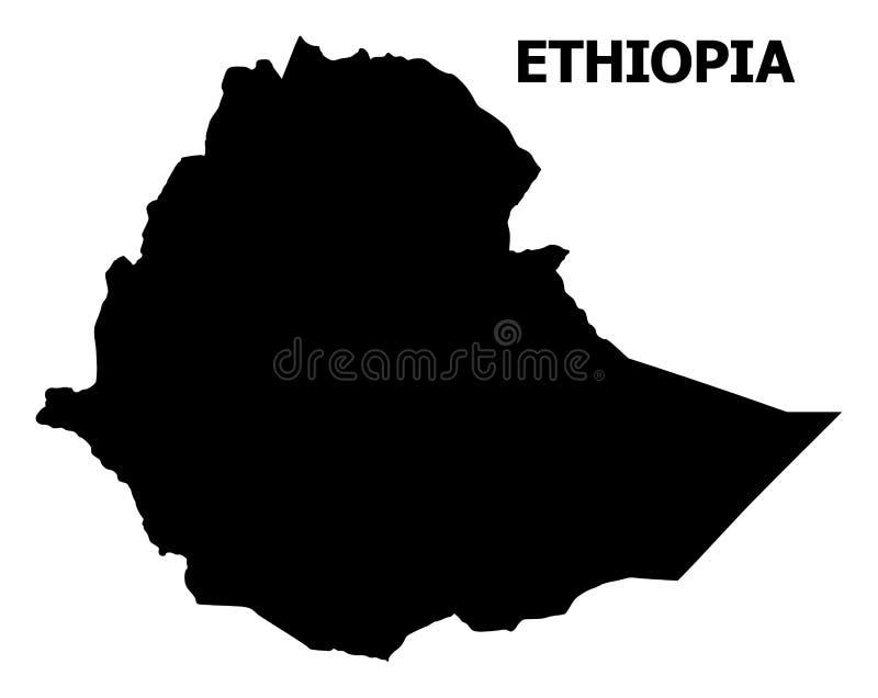 Mapa liso do vetor de Etiópia com nome ilustração do vetor