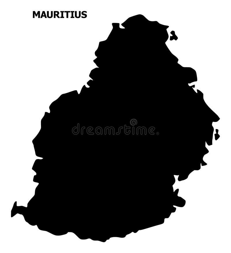 Mapa liso do vetor de Mauritius Island com subtítulo ilustração stock