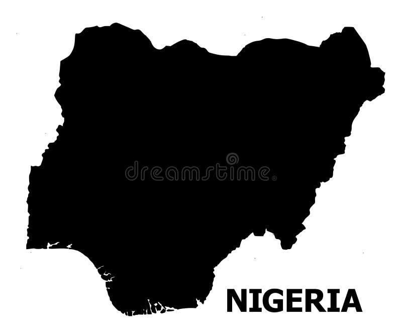 Mapa liso do vetor de Nigéria com nome ilustração royalty free