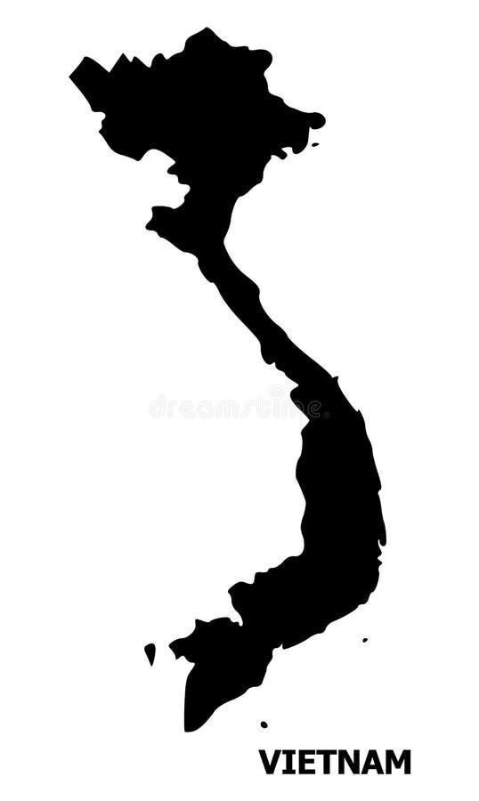 Mapa liso do vetor de Vietname com nome ilustração do vetor