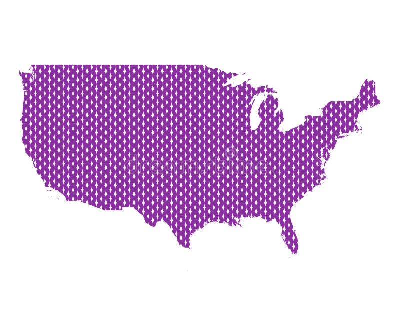 Mapa liso dos EUA ilustração royalty free