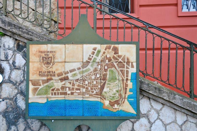 Mapa local Niza de la ciudad, Francia Riviera fotos de archivo libres de regalías