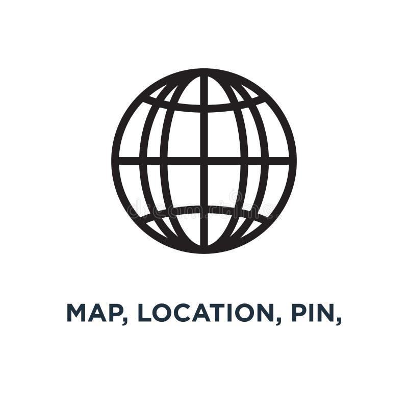 mapa, lokacja, szpilka, podróży nawigacji ikon ikona drogowy gps conce royalty ilustracja